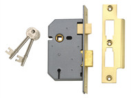 UNION UNNJ2277PL25 - 2277 3 Lever Mortice Sashlock Polished Brass 65mm 2.5in Box