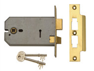 UNION UNNY2077PL5 - 2077-5 3 Lever Horizontal Mortice Lock Polished Brass 124mm