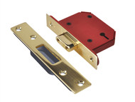 UNION UNNY2103PB25 - StrongBOLT 2103S 3 Lever Mortice Deadlock Polished Brass 68mm 2.5in Visi