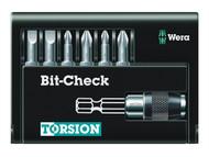 Wera WER073407 - Bit-Check Torsion Extra Tough Set of 7 PZ, PH, SL