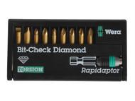 Wera WER344587 - Bit-Check BiTorsion Diamond Coated PH PZ SL Set of 10