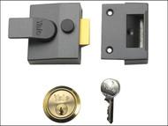Yale Locks YAL85DMGSC - 85 Deadlocking Nightlatch 40mm Backset DMG Finish Satin Chrome Cylinder Box