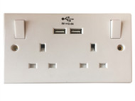 SMJ SMJPPSK2USB - Switched Socket 2 Gang 13A With 2 x USB