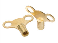 Dickie Dyer DDY11016 - Brass Clock Type Radiator Keys (Pack of 2)
