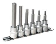 """Sealey AK6209 Hex Socket Bit Set with Rail 6pc 3/8""""Sq Drive Metric"""