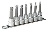 """Sealey AK621 Hex Ball-End Socket Bit Set 7pc Metric 3/8""""Sq Drive 62mm"""