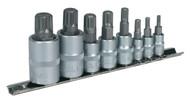 """Sealey AK6214 Spline Socket Bit Set 8pc 1/4"""", 3/8"""" & 1/2""""Sq Drive"""