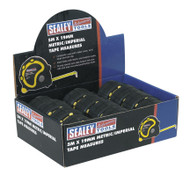 Sealey AK98912 Rubber Measuring Tape 5mtr(16ft) x 19mm Metric/Imperial Display Box of 12