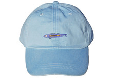 Coral Fish Embroidered Baseball Cap on Light Blue