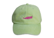 Whale Embroidered Baseball Cap on Lime