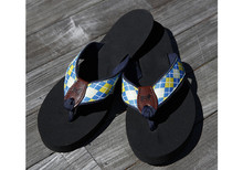 Argyle Yellow and Blue Flip Flops