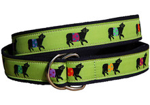 Belted Cow Ladies Ribbon Belt in Lime