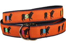 Belted Cow Ribbon Ladies Belt in Rust