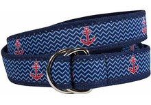 Anchor Ribbon Ladies Belt in Navy