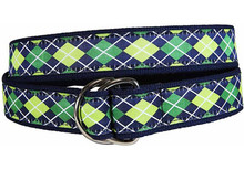 Argyle Ribbon Ladies Belt in Navy/Green