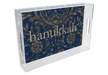 Blue Damask Lucite Tray