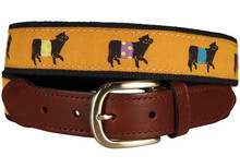 Belted Cow Ribbon Belt (Leather Tab) on Mustard