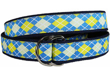 Argyle Ribbon Belt (Blue/Yellow) D-Ring