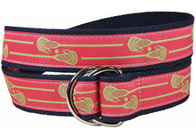 Lacrosse Sticks Ribbon Belt on Coral (D-Ring)