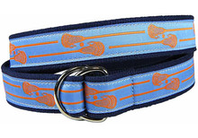 Lacrosse Sticks Ribbon Belt on Light Blue (D-Ring)