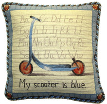 Scooter Needlepoint Pillow