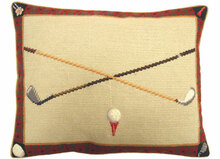 Golf Club Needlepoint Pillow