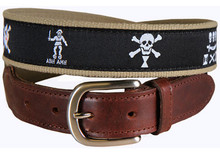 Pirate Flags Ribbon Belt (Leather Tab)