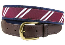 rep stripe tab belt maroon and white