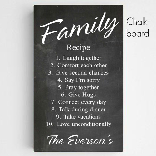 Personalized Family Recipe Canvas