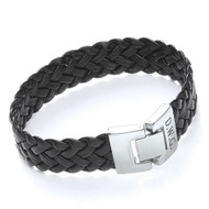 Men's Engraved Black Leather Bracelet