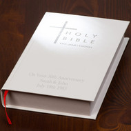 Personalized Couples Anniversary Bible in White with Silver lettering