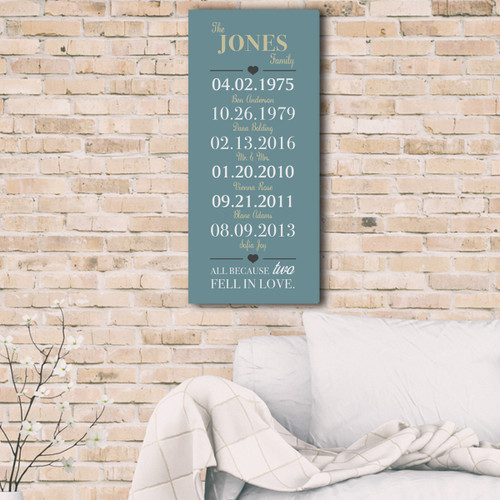 Two became one personalized Anniversary Canvas in teal