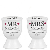 Personalized Mr and Mrs Egg Cups