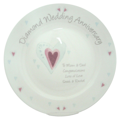Personalized Diamond Anniversary Plate