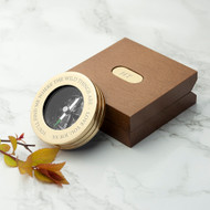 Engraved brass compass and wooden box