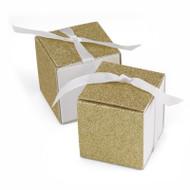 Gold Glitter Anniversary Favor Boxes