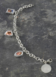 Personalized anniversary photo charm bracelet, in solid sterling silver.