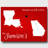 Because we fell in love, red personalized two states canvas