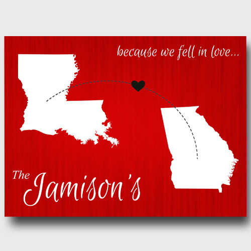 Traditional Gift For 4th Wedding Anniversary: Personalized We Fell In Love Anniversary Canvas