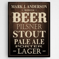 Your man's very own home bar personalized canvas