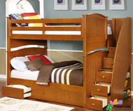 Allen House Chelsea Full over Full Bunk Bed with Stairs Pecan | Allen House | AH-A-FF-02-STR-T-A