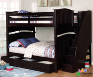 Allen House Chelsea Full over Full Bunk Bed with Stairs Espresso | Allen House | AH-A-FF-06-STR-T-A