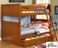 Allen House Chatham Full over Full Bunk Bed Pecan | Allen House | AH-BB-FF-02
