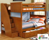 Allen House Chatham Full over Full Bunk Bed with Stairs Pecan | Allen House | AH-BB-FF-02-STR-T-BB
