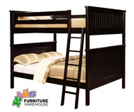 Allen House Chatham Full over Full Bunk Bed Espresso | Allen House | AH-BB-FF-06