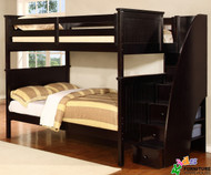 Allen House Chatham Full over Full Bunk Bed with Stairs Espresso | Allen House | AH-BB-FF-06-STR-T-BB