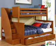 Allen House Chatham Twin over Full Bunk Bed with Stairs Pecan | Allen House | AH-BB-TF-02-STR-T-BB