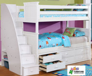 Allen House Chatham Bunk Bed with Stairs White | Allen House | AH-BB-TT-01-STR-T-BB