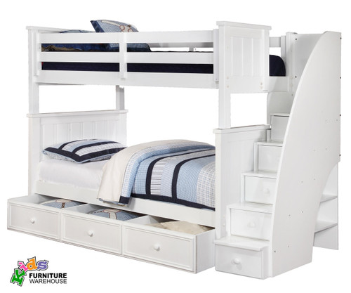 Allen House Brandon Full Over Full Bunk Bed With Stairs White | Allen House  | AH