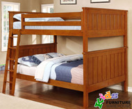 Allen House Brandon Full over Full Bunk Bed Pecan | Allen House | AH-J-FF-02